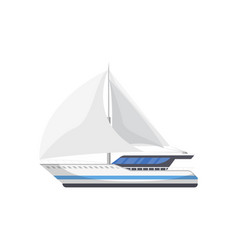 passenger sailboat side view isolated icon vector image
