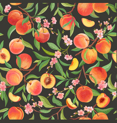 peach pattern with tropic fruits leaves flowers vector image