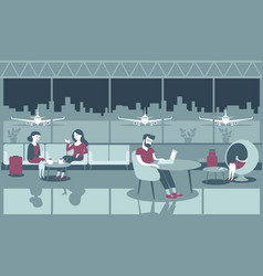 People chilling in airport lounge vector