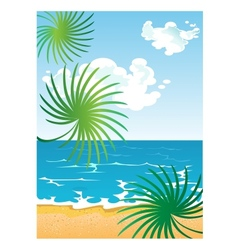 Picture of cartoon summer sunny beach with clouds vector