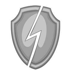 Protective shield with lightning bolt icon vector