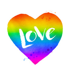 Rainbow colored heart with love word lettering vector