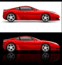 red sports car taxi on white and black background vector image