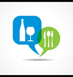 Restaurant forks and wine glass in message bubble vector image