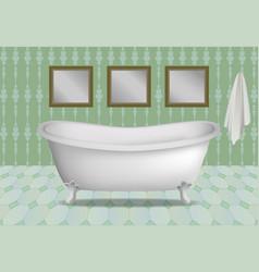 retro bathtub concept background realistic style vector image