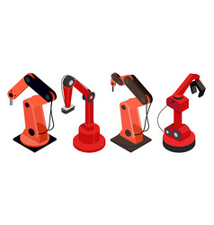 Robotic machines on automated production industry vector