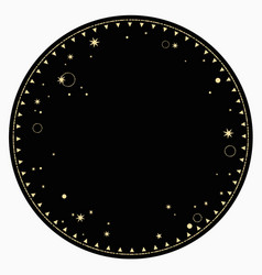Round end frame with gold star ornament vector