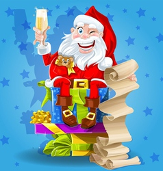 Santa claus with champagne vector