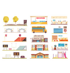 school facilities flat set vector image
