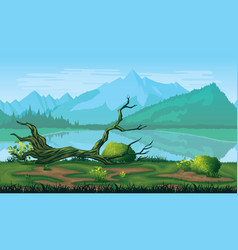 Seamless background of landscape with river forest vector