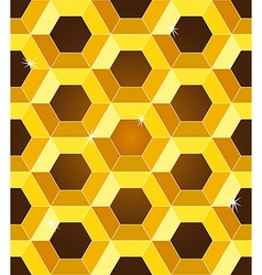 Seamless golden yellow honeycomb pattern vector