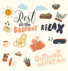 Set balcony relax things ornament for cloth vector