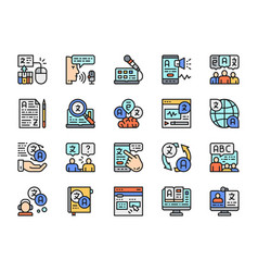 set language translation color line icons vector image