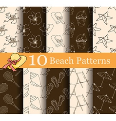 set of 10 summer seamless patterns vector image