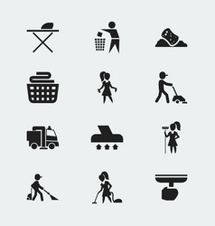 Set of 12 editable cleanup icons includes symbols vector