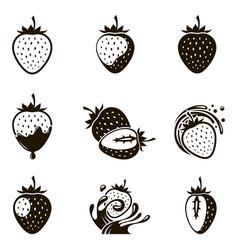 set of strawberries vector image vector image