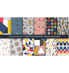 set trendy seamless colorful patterns vector image