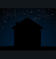 silhouette house on blue starry night sky vector image