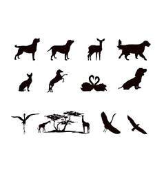 silhouettes of wild animals and pets in black and vector image