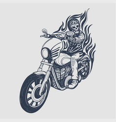 Skull biker logo design vector