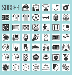 soccer silhouette icons vector image
