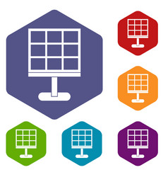 Solar battery icons set hexagon vector