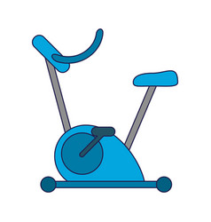 Spinning machine gym equipment blue lines vector