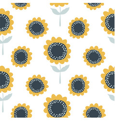 sunflower seamless pattern cute design for fabric vector image