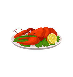 tasty crab dish with lemon and green lettuce vector image