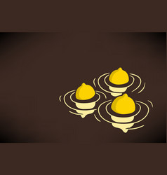three floating lemons conceptual vector image