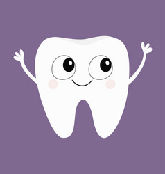 Tooth icon big eyes hands cute funny cartoon vector