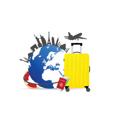 travel set icon vector image