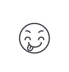 Tricky emoji concept line editable concept vector