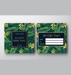 tropical forest leaves abstract gift card vector image