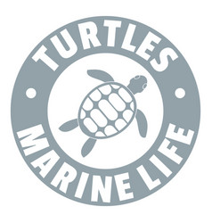 Turtles marine life logo simple gray style vector