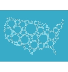 USA map made of blue bubbles vector image vector image