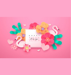 valentines day paper cut flower decoration card vector image