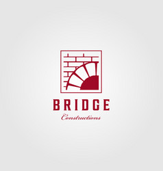 vintage bridge logo construction brick emblem vector image