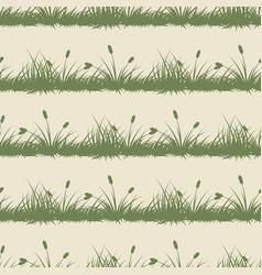 Vintage grass and bushes silhouettes horizontal vector