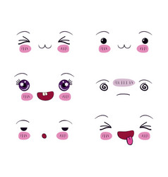 White background set facial expression kawaii vector