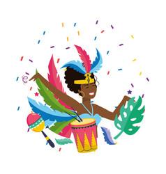 Woman celebrating brazil carnival vector