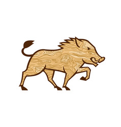 Wood boar marching side retro vector