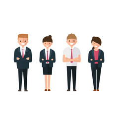 Young business people man and woman in cartoon vector