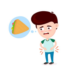 Young suffering sad man is hungry vector