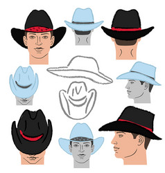Cowboy hat template and man head vector