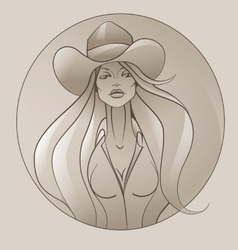 Cowgirl with flowing hair vector image