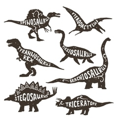 Dinosaurs Silhouettes With Lettering vector image