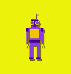 flat icon design robot toy with antenna in vector image