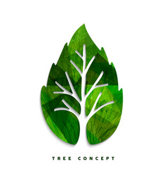 green tree leaf concept symbol for nature care vector image vector image