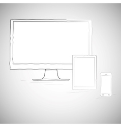 Laptop mobile phone and tablet electronic devices vector image